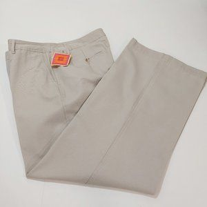 ISAAC MIZRAHI Womens Khaki Canvas Pants Size 16